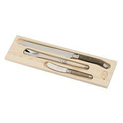 Linen Mix 3 darabos evőeszköz készlet, fa dobozban - Jean Dubost