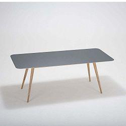 Linn tömör tölgyfa étkezőasztal fekete asztallappal, 200 x 90 cm - Gazzda