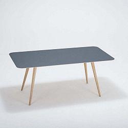 Linn tömör tölgyfa étkezőasztal sötétkék asztallappal, 180 x 90 cm - Gazzda