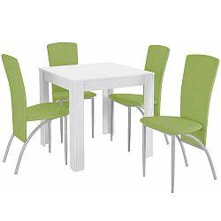 Lori Nevada Duro White Green étkezőasztal és 4 részes zöld étkezőszék szett - Støraa