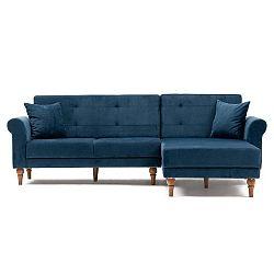 Madona sötétkék kinyitható kanapé, jobb oldali kivitel