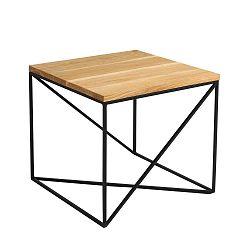Memo dohányzóasztal fekete konstrukcióval és tölgyfa dekorral, szélesség 50 cm - Custom Form