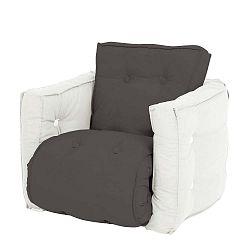 Mini Dice sötétszürke kinyitható gyermek fotel natúr vázzal - Karup