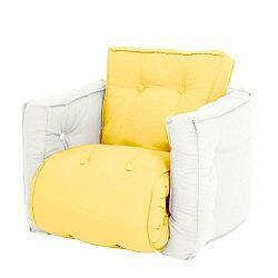Mini Dice sárga kinyitható gyermek fotel natúr vázzal - Karup