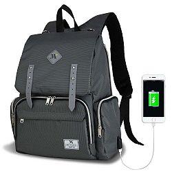 MOTHER STAR Baby Care Backpack antracitszürke hátizsák anyukáknak USB csatlakozóval - My Valice