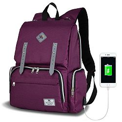MOTHER STAR Baby Care Backpack lila hátizsák anyukáknak USB csatlakozóval - My Valice