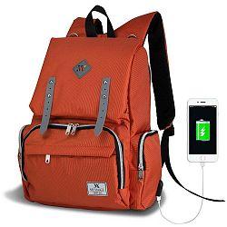 MOTHER STAR Baby Care Backpack narancssárga hátizsák anyukáknak USB csatlakozóval - My Valice
