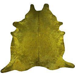 Mustársárga szőnyeg marhabőrből, 255 x 226 cm