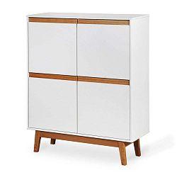 Ontur 42 fehér szekrény fa lábakkal és részletekkel - Dřevotvar