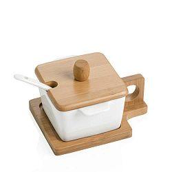 Petite négyszögletű tálka tálcával, fedéllel és kiskanállal - Brandani