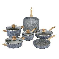 Pierre Gourmet 6 darabos edénykészlet fedőkkel és fa mintázatú fülekkel - Bisetti