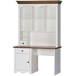 Princessa fehér szekrény íróasztalra nyírfamintás elemekkel - Szynaka Meble