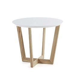Rondo kőrisfa kisasztal fehér asztallappal, ⌀ 60 cm - La Forma