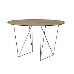Row diófamintás étkezőasztal krómozott lábakkal, Ø120 cm - TemaHome