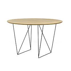 Row tölgyfamintás étkezőasztal fekete lábakkal, Ø120 cm - TemaHome