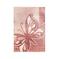 Rózsaszín szőnyeg pillangós mintával, 133 x 190 cm - Unknown