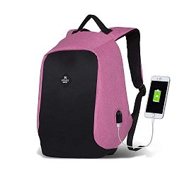 SECRET Smart Bag fekete-rózsaszín hátizsák USB csatlakozóval - My Valice