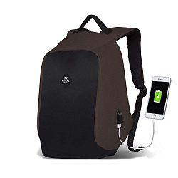 SECRET Smart Bag sötétbarna-fekete hátizsák USB csatlakozóval - My Valice