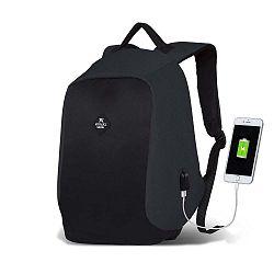 SECRET Smart Bag szürke-fekete hátizsák USB csatlakozóval - My Valice