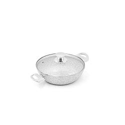 Stonewhite serpenyő fedővel és fehér fülekkel, ø 24 cm - Bisetti