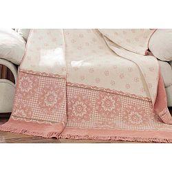 Sweety fehér-rózsaszín takaró pamut keverékből, 200 x 150 cm - Aksu