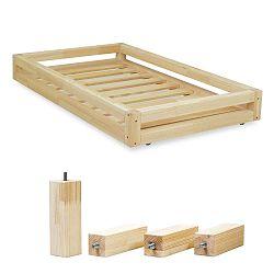 Természetes ágy alatti fiók és 4 db-os ágymagasító láb szett, 120 x 200 cm-es ágyhoz - Benlemi