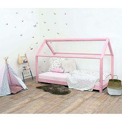 Tery rózsaszín lucfenyő gyerekágy oldalfal nélkül, 120 x 180 cm - Benlemi