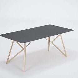 Tink tömör tölgyfa étkezőasztal fekete asztallappal, 180 x 90 cm - Gazzda