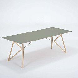 Tink tömör tölgyfa étkezőasztal zöld asztallappal, 220 x 90 cm - Gazzda