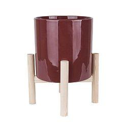 Trestle piros kerámia kaspó borovi lábszerkezettel - PT LIVING