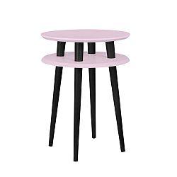 UFO világos rózsaszín kisasztal fekete lábakkal, Ø 45 cm - Ragaba