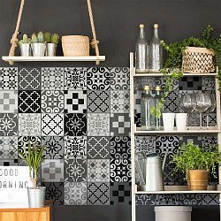 Wall Decal Cement Tiles Azulejos Pedro 60 db-os falmatrica szett, 15 x 15 cm - Ambiance