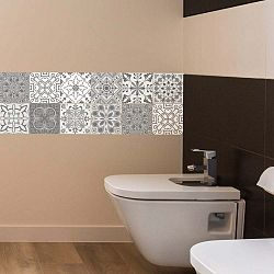 Wall Decal Tiles Grey and White Torino 12 db-os falmatrica szett, 20 x 20 cm - Ambiance