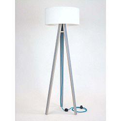 Wanda szürke állólámpa, fehér búrával és türkiz kábellel - Ragaba