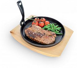 ORION öntöttvas grill serpenyő konyhai deszkával 22cm