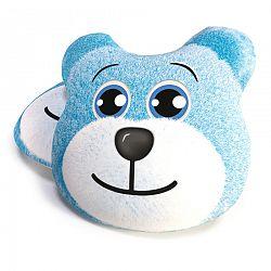 Medve kék formázott párna, 40 cm