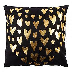Párna Gold De Lux Szív fekete, 43 x 43 cm