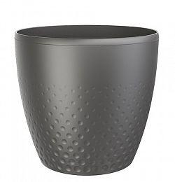 Perla műanyag kaspó, 25 cm, antracit, 25 cm átmérőjű