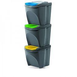 Sortibox Szelektív hulladékgyűjtő kosarak szürke, 20 l, 3 db IKWB20S3405u