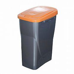 Szelektív hulladékgyűjtő kosár, 51 x 21,5 x 36 cm, narancssárga fedél, 25 l