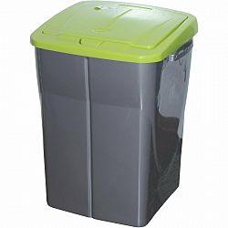 Szelektív hulladékgyűjtő kosár, 51 x 36 x 36,5 cm, zöld fedél, 45 l