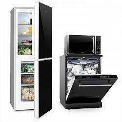 Klarstein Luminance, készlet, hűtőszekrény fagyasztóval + mikrohullámú sütő + mosogatógép