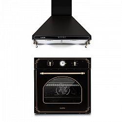 Klarstein Victoria, beépíthető sütő és páraelszívó szett, retró dizájn, fekete