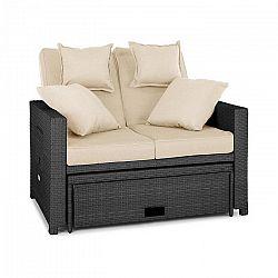 Blumfeldt Komfortzone, szürke, rattan kerti szék, dupla szék, polyrattan, összecsukható