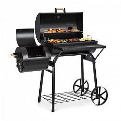 Klarstein Beef Brisket, grill és füstölő, hőmérő, kerekek, fedél, fekete