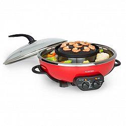 Klarstein Tafelrunde, hot pot fazék és grill lemez, 5 l űrtartalom, 1350 W, 600 W, piros