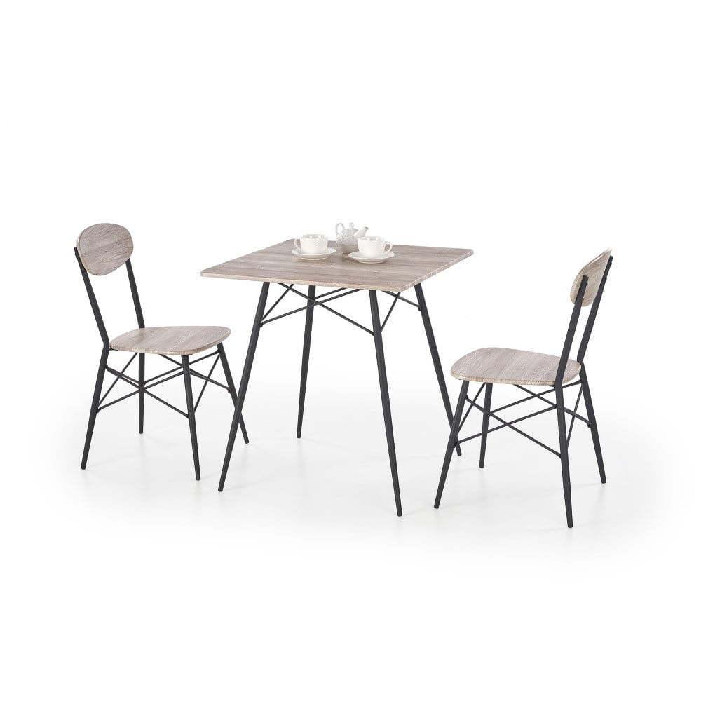 Kabir tölgyfa mintás étkezőasztal szett, 2 székkel Halmar
