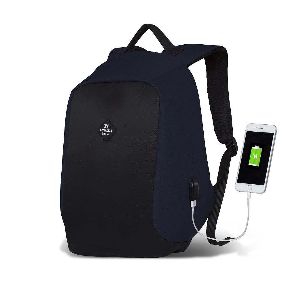 2ef350fdd42e SECRET Smart Bag sötétkék-fekete hátizsák USB csatlakozóval - My Valice