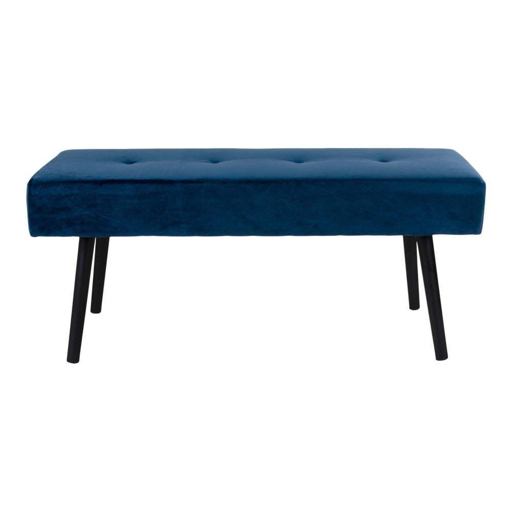 Skiby sötétkék kárpitozott ülőpad bársony huzattal, 100 x 35 cm - House Nordic