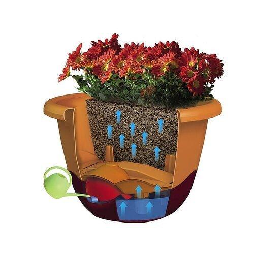 Mareta 30 önöntöző virágtartó, antracit + csontszínű függesztett, 30 cm átmérőjű